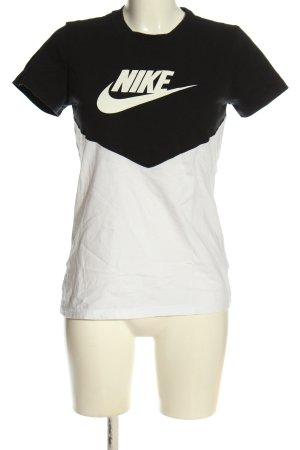 Nike T-Shirt schwarz-weiß Schriftzug gedruckt Casual-Look