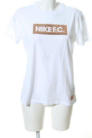 Nike T-Shirt weiß-braun Schriftzug gedruckt Casual-Look
