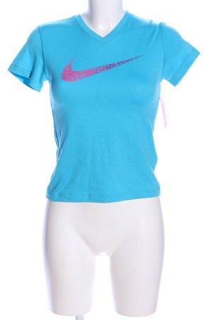 Nike T-Shirt blau-pink Motivdruck sportlicher Stil