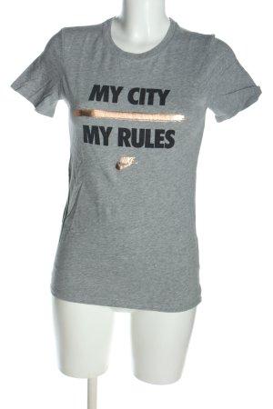 Nike T-Shirt hellgrau-schwarz meliert Casual-Look