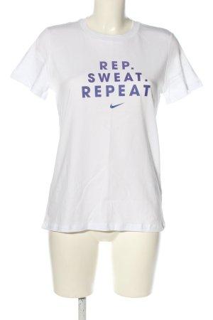 Nike T-Shirt weiß-blau Schriftzug gedruckt Casual-Look