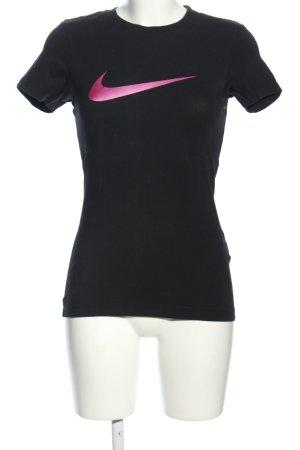 Nike T-Shirt schwarz-pink Motivdruck sportlicher Stil