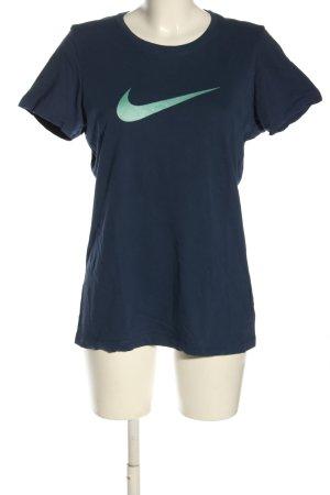 Nike T-Shirt blau-grün Motivdruck Casual-Look