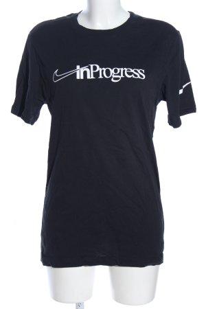 Nike T-Shirt schwarz Schriftzug gedruckt Casual-Look