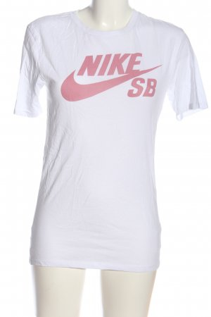 Nike T-Shirt weiß-pink Motivdruck Casual-Look