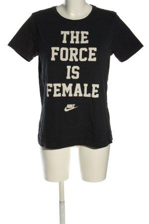 Nike T-Shirt schwarz-wollweiß Schriftzug gedruckt Casual-Look