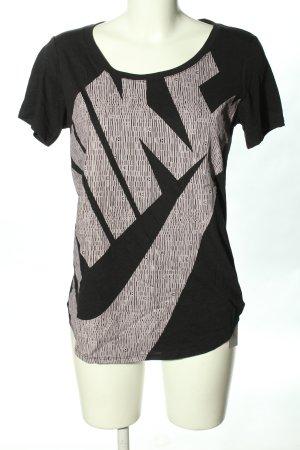 Nike T-Shirt schwarz-hellgrau Schriftzug gedruckt Casual-Look