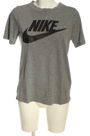 Nike T-Shirt hellgrau-schwarz Schriftzug gedruckt Casual-Look