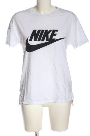 Nike T-Shirt weiß-schwarz Motivdruck Casual-Look