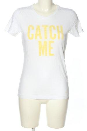 Nike T-Shirt weiß-blassgelb Schriftzug gedruckt Casual-Look
