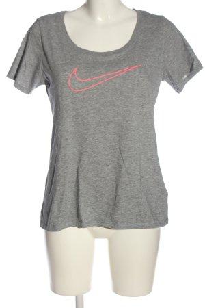 Nike T-Shirt hellgrau-pink meliert Casual-Look