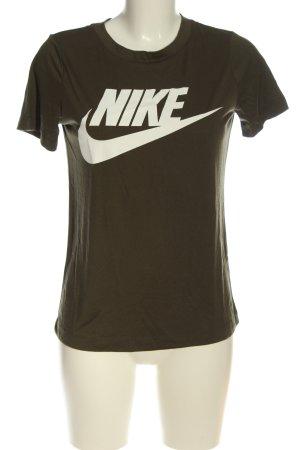 Nike T-Shirt khaki-weiß Schriftzug gedruckt Casual-Look