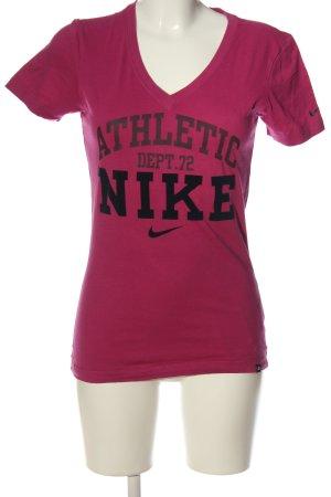 Nike T-Shirt pink-schwarz Schriftzug gedruckt Casual-Look