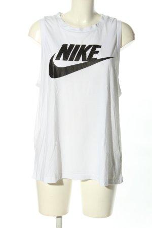 Nike Tanktop weiß-schwarz Motivdruck Casual-Look