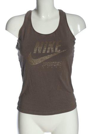 Nike Tanktop braun Schriftzug gedruckt Casual-Look
