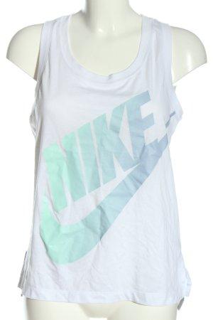 Nike Tanktop weiß-türkis Schriftzug gedruckt Casual-Look