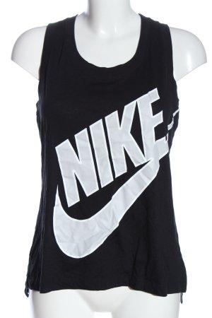 Nike Tanktop schwarz-weiß Schriftzug gedruckt Casual-Look
