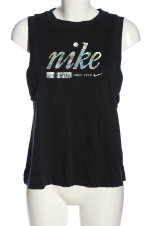 Nike Basic Top schwarz-silberfarben Schriftzug gedruckt Casual-Look
