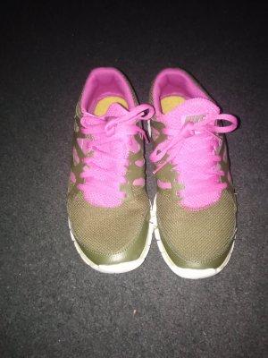 Nike Zapatillas altas rosa neón-verde oliva