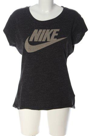 Nike Koszulka z dekoltem w łódkę czarny-w kolorze białej wełny Melanżowy