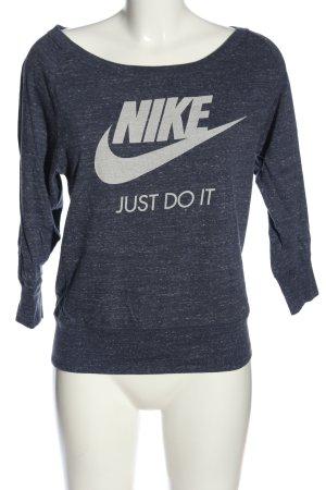 Nike Top à col bateau bleu-blanc lettrage imprimé style décontracté