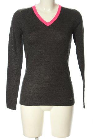 Nike V-Ausschnitt-Pullover schwarz-pink meliert Casual-Look