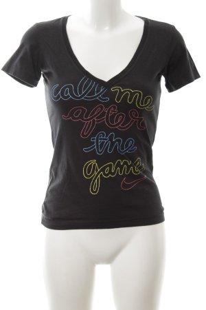 Nike V-Ausschnitt-Shirt Schriftzug gedruckt Casual-Look