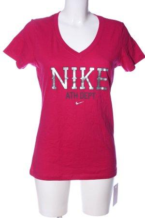 Nike V-Ausschnitt-Shirt pink-silberfarben Schriftzug gedruckt Casual-Look