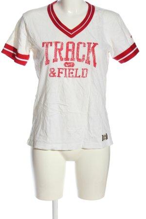 Nike V-Ausschnitt-Shirt weiß-rot Schriftzug gedruckt Casual-Look