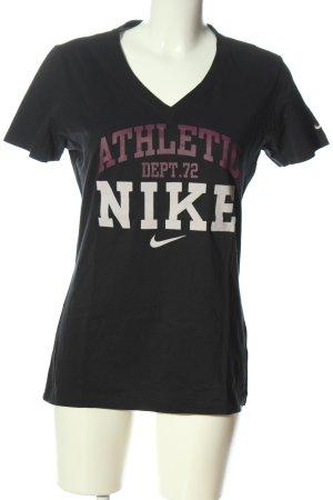 Nike V-Ausschnitt-Shirt schwarz Schriftzug gedruckt Casual-Look