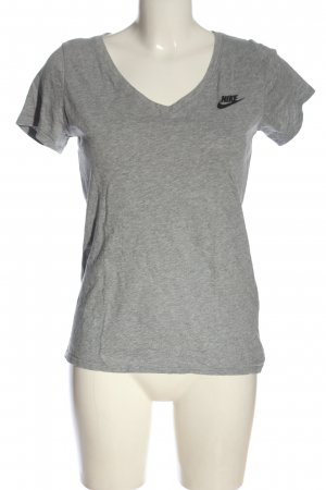 Nike V-Ausschnitt-Shirt hellgrau meliert Casual-Look