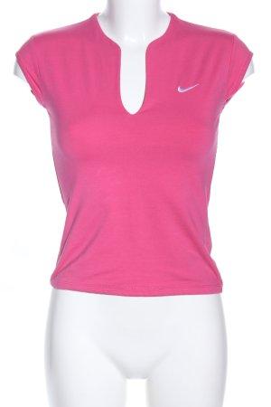 Nike T-shirt col en V rose style athlétique