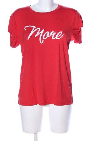 Nikkie Print-Shirt rot-weiß Schriftzug gedruckt Casual-Look