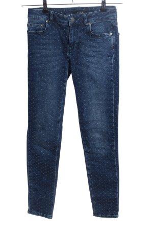 Nikkie Skinny Jeans blau-weiß Allover-Druck Casual-Look