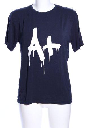 Nikkie T-Shirt blau-weiß Schriftzug gedruckt Casual-Look