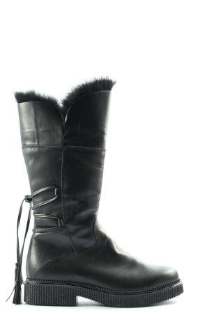 nila&nila Bottes plissées noir style décontracté