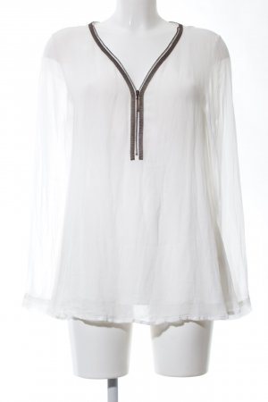 Nile Transparenz-Bluse weiß-braun Casual-Look