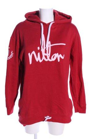 Nilton Kapuzensweatshirt rot-pink Motivdruck Casual-Look