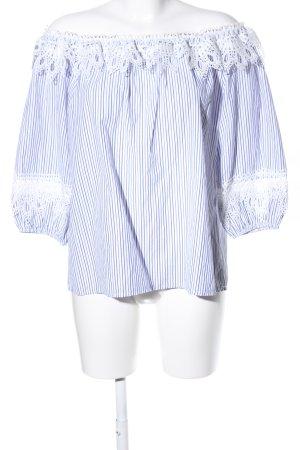 Carmen-Bluse blau-weiß Streifenmuster Casual-Look