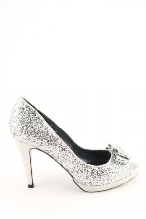 Nina Fiarucci Peep Toe Pumps silver-colored glittery