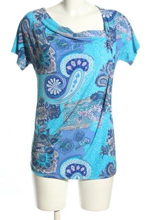 Nina Leonhard T-Shirt blau-türkis abstraktes Muster Casual-Look