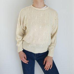 Nina M beige nude Cardigan Strickjacke Oversize Pullover Hoodie Pulli Sweater Top True Vintage