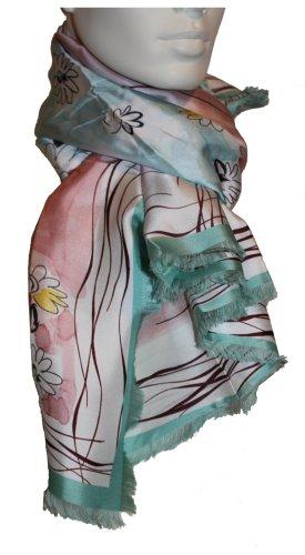 Nina Ricci Seidentuch, turquoise-rose, 120 x 120 cm, 100% Seide ❤️ Neu mit Etikett