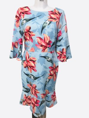 Nine West Damen Blumen Kleid Hellblau 38