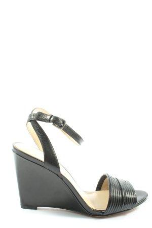 Nine west Wedge Sandals black striped pattern elegant