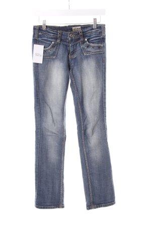 Nine2Nine Straight-Leg Jeans stahlblau-weiß Used-Optik