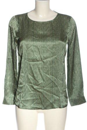NIU' Jedwabna bluzka zielony-kremowy Na całej powierzchni Elegancki