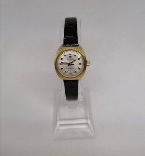 Nivada Zegarek ze skórzanym paskiem brąz-złoto