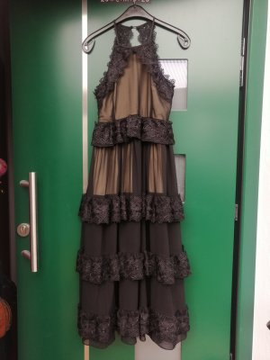 NJ Couture Paris  Maxikleid  Abendkleid  Spitze  schwarz  Gr. M (36 38)  NEU