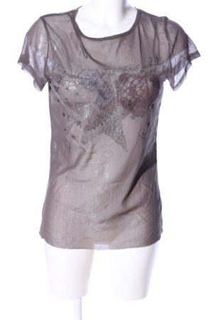 NKD Transparenz-Bluse braun Motivdruck Casual-Look
